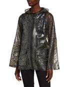 Anatomie Jada Water-Resistant Cheetah Print Hooded Jacket