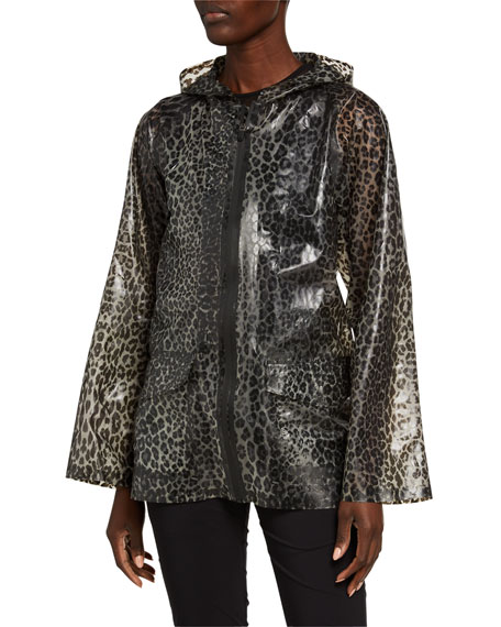 Anatomie Jada Water-Resistant Cheetah Print Hooded Jacket