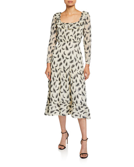 Saloni Misha Printed Long-Sleeve Dress
