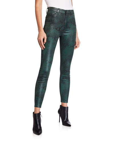 High-Waist Coated Python Ankle Skinny Jeans