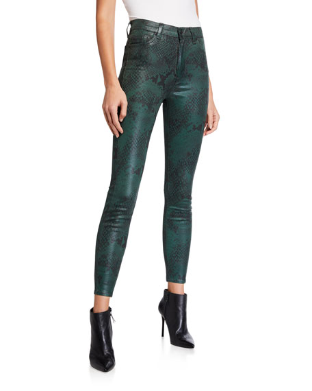 7 for all mankind High-Waist Coated Python Ankle Skinny Jeans