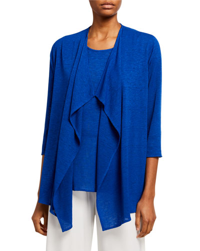 Petite Gauze Knit Draped Open-Front Cardigan