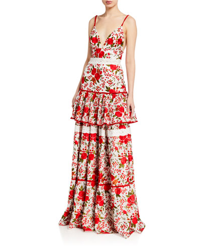 Naomie Tiered Rose-Print Long Dress