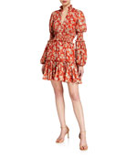 Alexis Rosewell Tiered High-Neck Floral Cocktail Dress