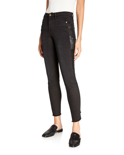 Le High Skinny Sequin Tux Stripe Jeans
