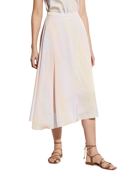 Vince Rainbow Wash Draped Midi Skirt