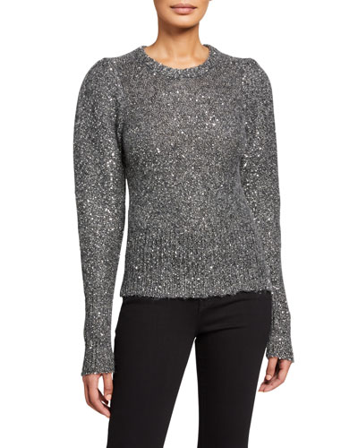 Sequined Puff-Sleeve Sweater
