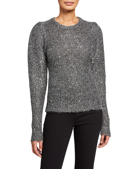 FRAME Sequined Puff-Sleeve Sweater