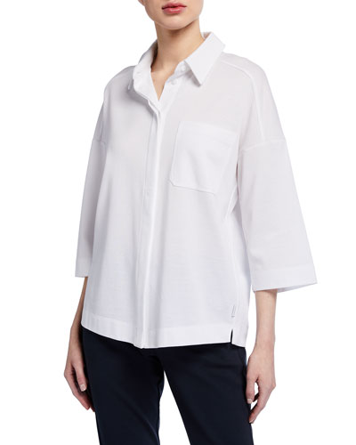 Button-Front 3/4-Sleeve Jacket Top