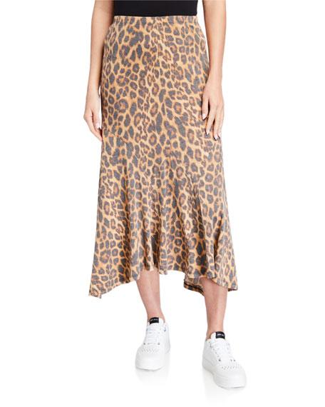 Melissa Masse Leopard-Print Swish Panel Sun Faded Jersey Skirt