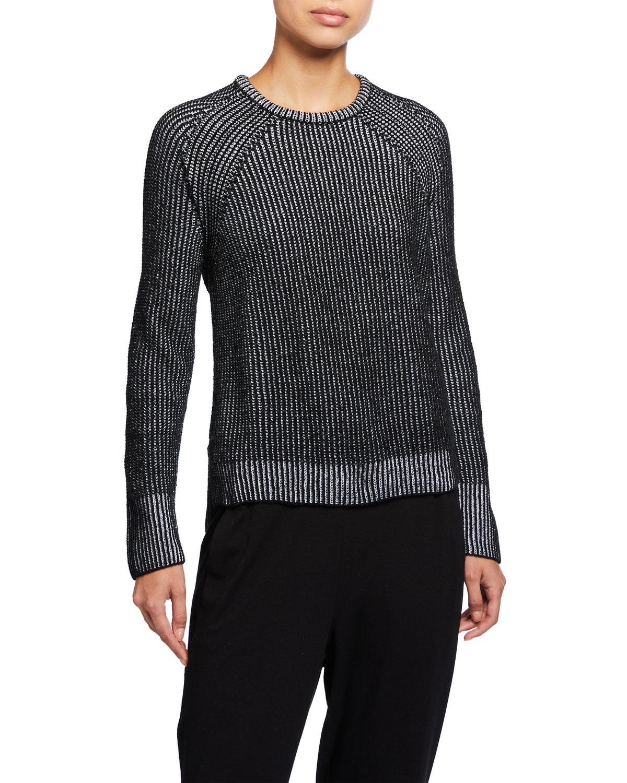 Eileen Fisher Sweaters PETITE CREWNECK ORGANIC COTTON CHENILLE SWEATER