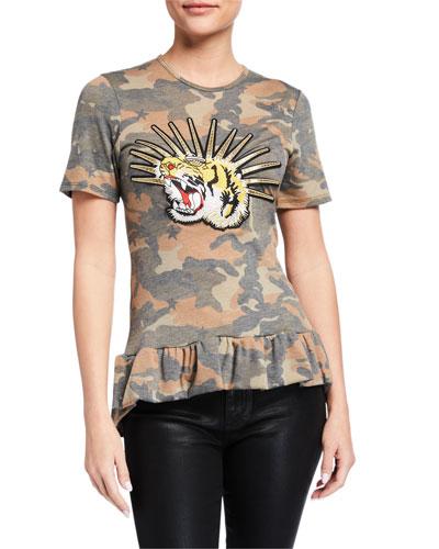 Camo Ruffle-Hem Jersey T-Shirt with Tiger Applique