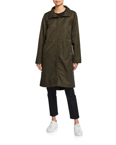 Lor Stand-Collar Zip-Front Fleece Lined Drawstring Waist Coat