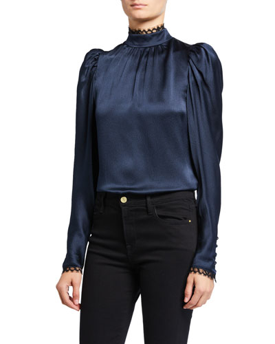 Lace-Trim Silk High-Neck Top