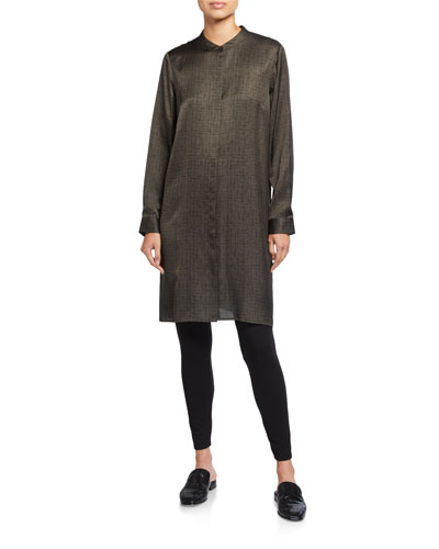 Crossroad Print Silk/Organic Cotton Mandarin-Collar Shirtdress