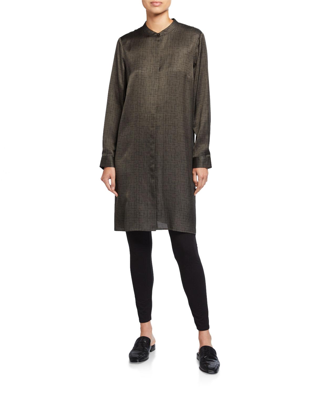 Eileen Fisher Dresses CROSSROAD PRINT SILK/ORGANIC COTTON MANDARIN-COLLAR SHIRTDRESS