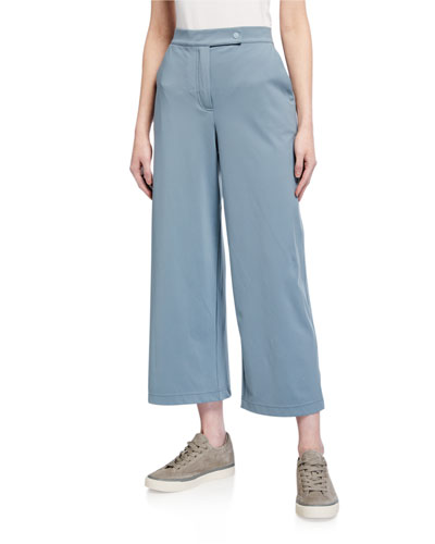 Zip-Front Ankle Jersey Pants