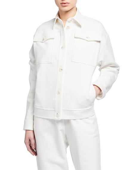 Max Mara Leisure Cotton-Blend Button-Front Sweatshirt Jean Jacket