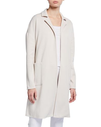 Long-Sleeve Knit Cotton Jersey Coat