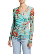 Fuzzi Floral Crisscross Long-Sleeve Top