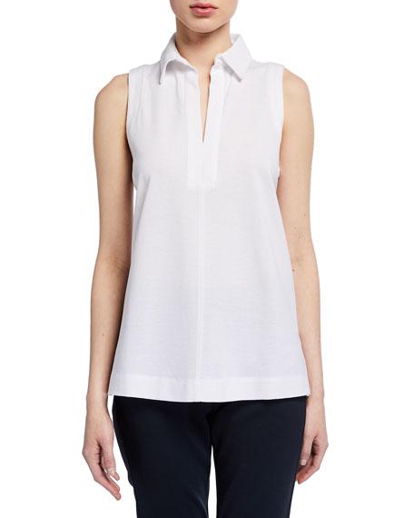 Max Mara Leisure Sleeveless Cotton Jersey Collared Top