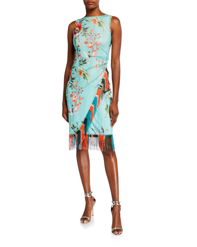 Floral Sleeveless Faux Wrap Fringe-Trim Dress