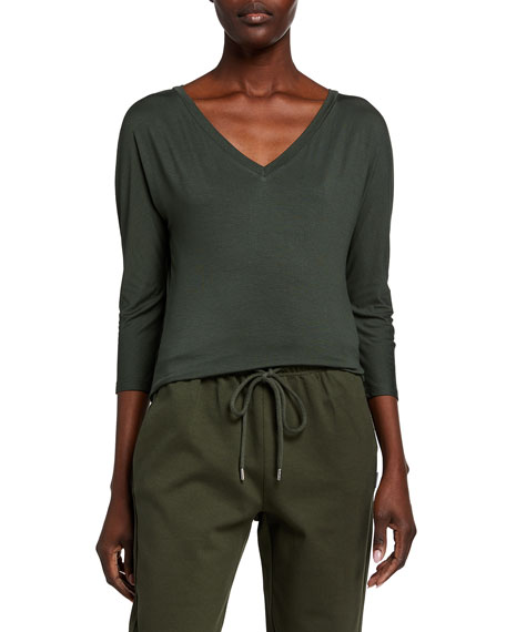 Max Mara Leisure V-Neck 3/4-Sleeve Jersey Top
