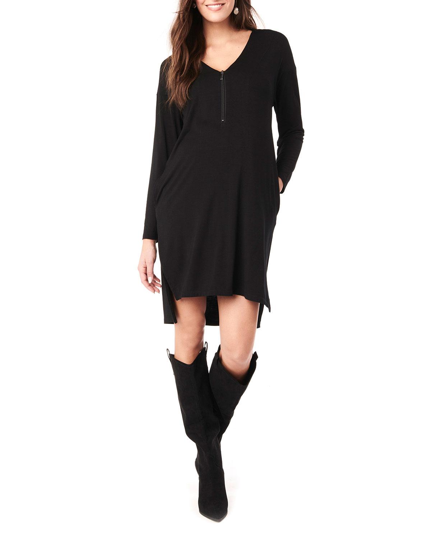 Maternity Farah V-Neck Long-Sleeve Jersey Dress
