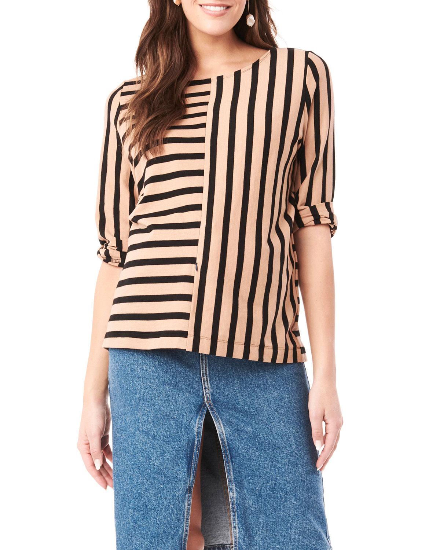 Maternity Tory Striped 3/4-Sleeve Shirt