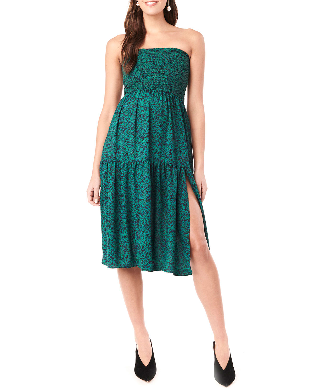 Maternity Jessie Leopard-Print Layered Skirt/Dress with Smocking