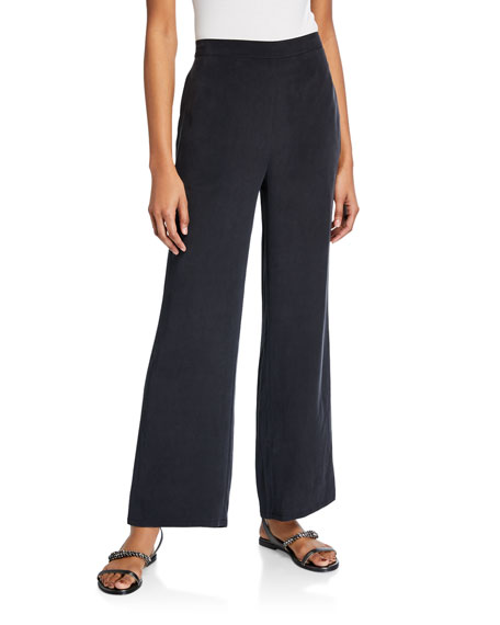 Go Silk Solid Unlined Silk Crepe Pants