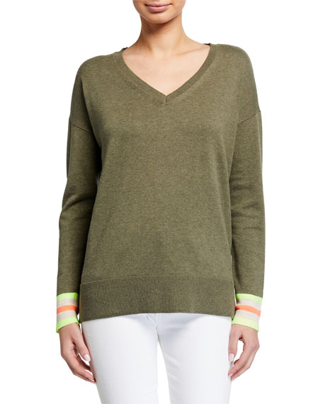 Lisa Todd Petite Just Sayin V-Neck Sweater w/ Sequin Elbow Patch Detail