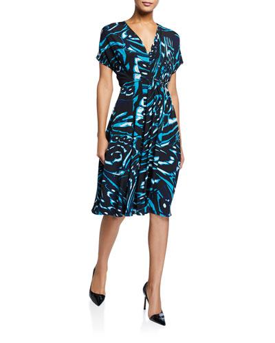 Cardea Printed Short-Sleeve Dress