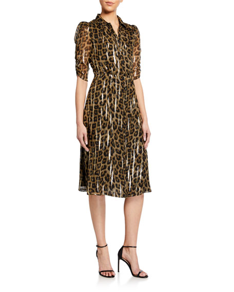 ba&sh Jozy Metallic Leopard-Print Dress
