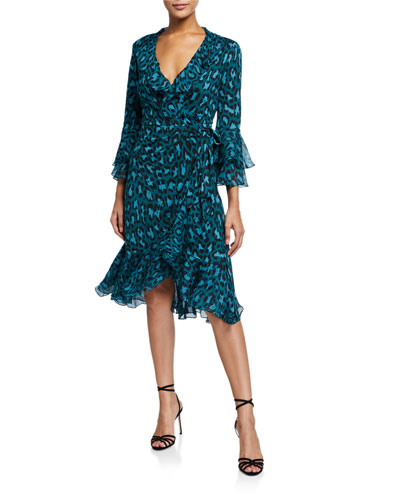 Carli Leopard-Print Ruffle Wrap Dress