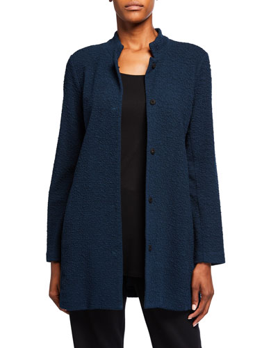 Petite Jacquard Knit Button-Front Stand-Collar Jacket