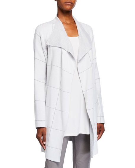 Eileen Fisher Windowpane Angle Front Cardigan