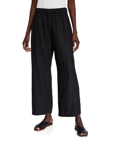 Organic Linen Wide-Leg Pull-On Pants