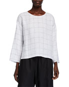Eileen Fisher Broad Check Jewel-Neck 3/4-Sleeve Top