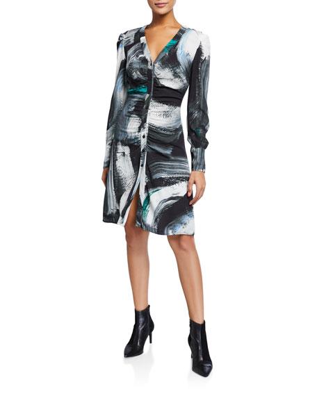 Diane von Furstenberg Calico Printed Button-Down Dress