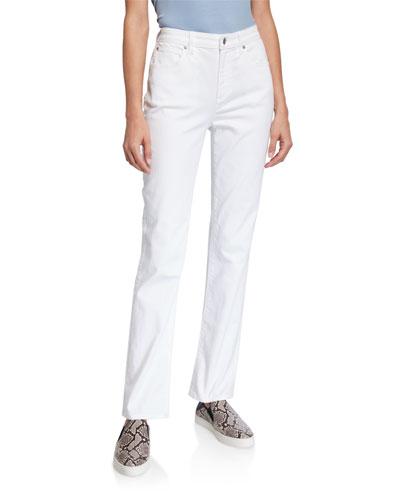 Petite High-Rise Straight-Leg Denim Jeans