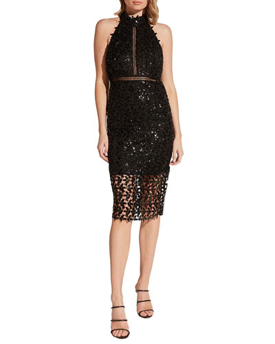 Sequined Leaf Halter Cocktail Dress