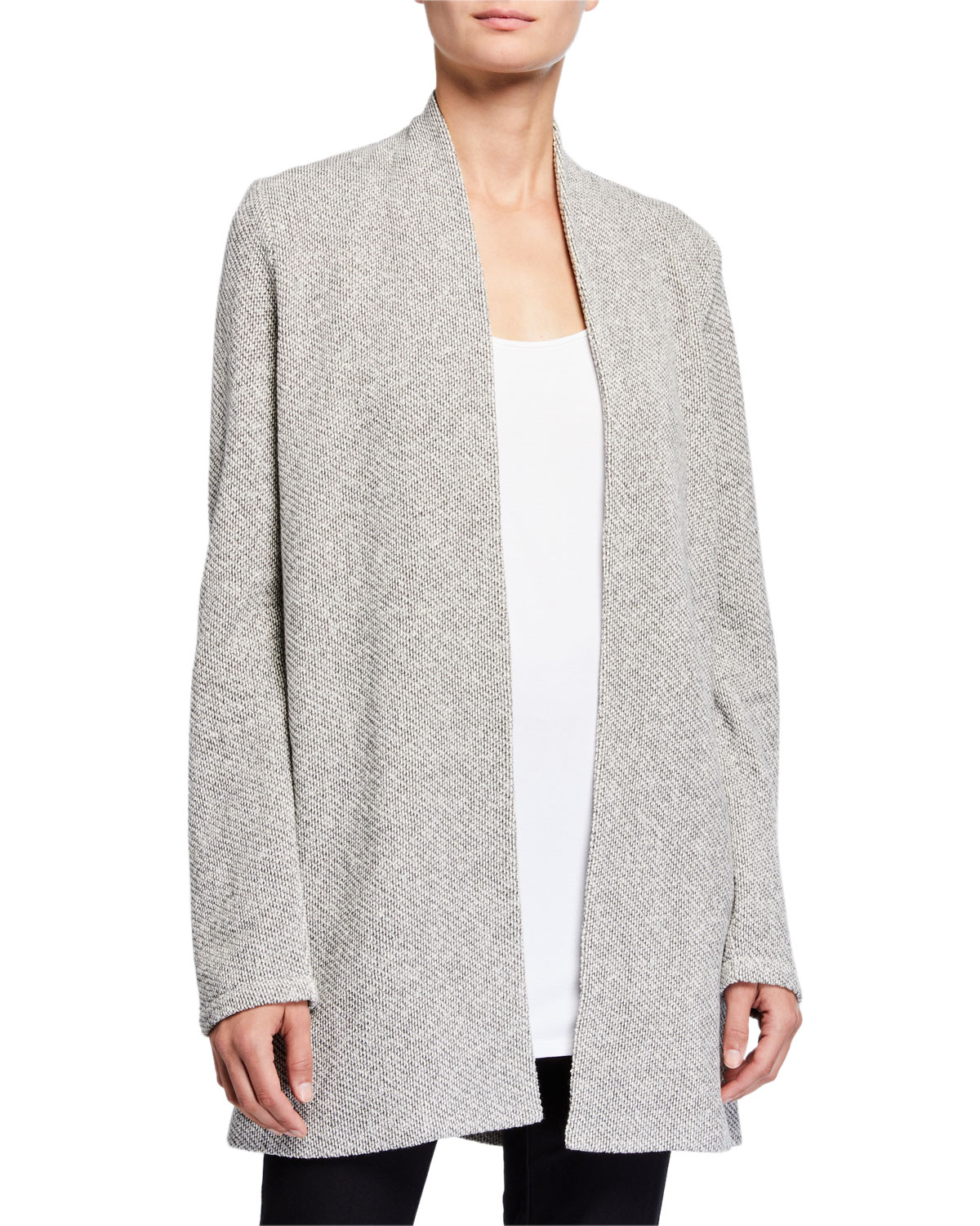 EILEEN FISHER PETITE TWISTED TERRY LONG KIMONO CARDIGAN