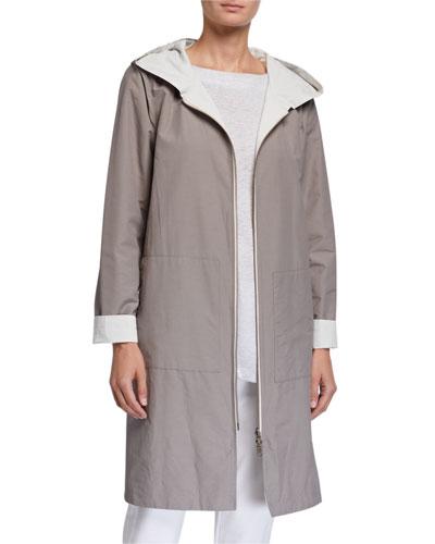 Plus Size Reversible Hooded Cotton/Nylon Jacket