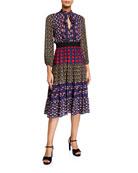 Alice + Olivia Karolina Paneled Blouson-Sleeve Midi Dress
