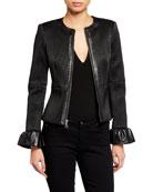 Alice + Olivia Jonie Leather Jacket w/ Ruffled