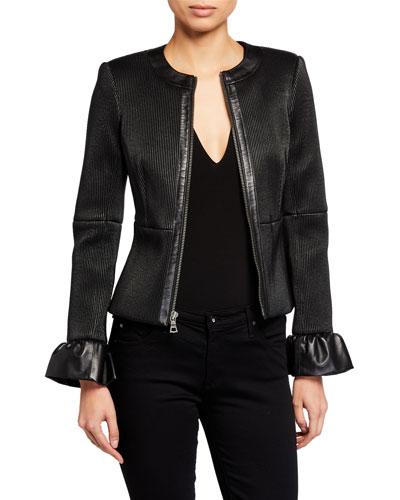 Jonie Leather Jacket w/ Ruffled Cuffs