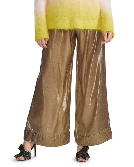 Cynthia Rowley Silk Lame Jogger Pants