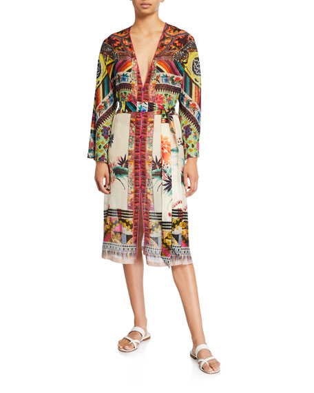 Etro Patchwork Print Long-Sleeve Dress