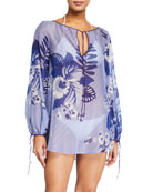 Etro Jasine Cotton-Silk Kaftan Coverup Top